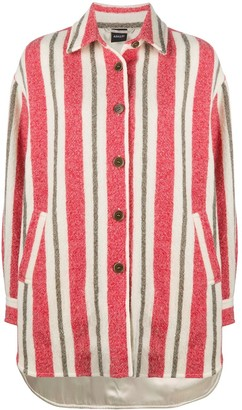 Aspesi Striped-Pattern Virgin Wool Coat