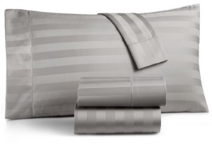 "Charter Club Damask 1.5"" Stripe Extra Deep Pocket Queen 4-Pc Sheet Set, 550 Thread Count 100% Supima Cotton, Created for Macy's Bedding"