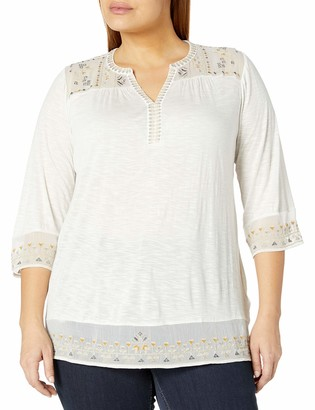 Lucky Brand Women's Plus Size Embroidered Yoke Top