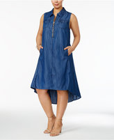 INC International Concepts Plus Size Chambray Trapeze Dress, Created for Macy's