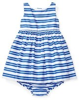 Ralph Lauren Sleeveless Smocked Striped Poplin Dress w/ Bloomers, Blue, Size 6-24 Months