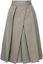 Jil Sander pleated front midi skirt - women - Cotton - 36