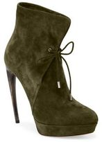 Alexander McQueen Curved Heel Suede Lace-Up Booties