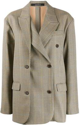 Rokh check double-breasted jacket