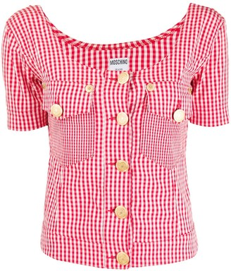Moschino Pre Owned 1990s Gingham Scoop Neck Top