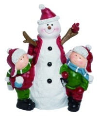 Transpac Trans Pac Resin White Christmas Snowman and Kids Figurine