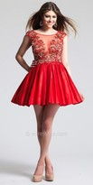 Dave and Johnny Illusion Keyhole Back Pleated Homecoming Dress