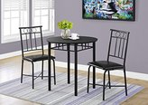 Monarch 3 Piece Set Metal and Top Dining Set, Black