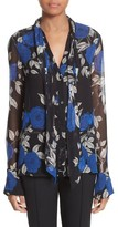 Jason Wu Women's Floral Silk Tie Neck Blouse