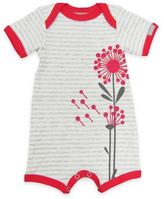 Coccoli Flower Short Sleeve Romper in Grey/Red