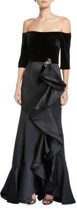Jovani Off-the-Shoulder Velvet & Taffeta Gown