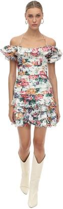 Zimmermann Ruffled Floral Print Linen Dress