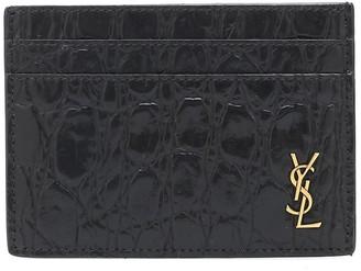 Saint Laurent Croc-effect leather card holder