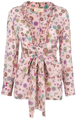 Romeo Gigli Pre-Owned floral print belted blouse