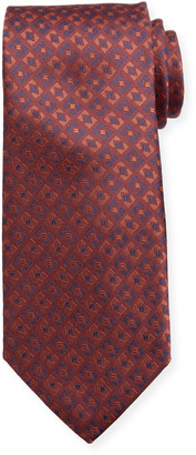 Canali Men's Deco-Inspired Silk Tie, Red
