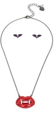 Betsey Johnson Vampire Fangs Pendant Stud Earrings Set