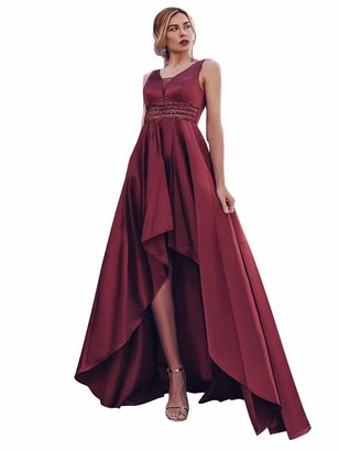 Ever Pretty Ever-Pretty Women's V Neck Empire Waist Hi-Low A Line Long Satin Prom Dresses Orchid 18UK