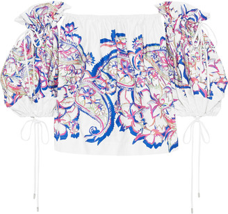 Prabal Gurung Off-the-shoulder Printed Cotton-blend Top