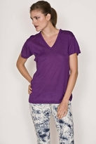 K Allyn Short Sleeve Pocket V-Neck Tee in Purple