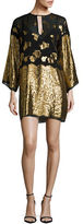 Rachel Zoe Bell-Sleeved Floral Shimmer Shift Dress