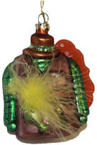 Asstd National Brand 4 Maroon and Green Fisherman's Vest with FeatherGlass Christmas Ornament