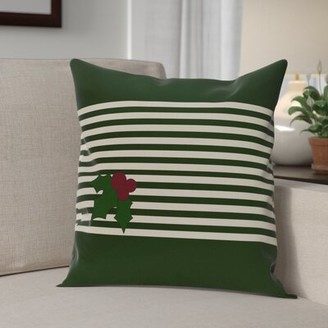 "Holly Stripe Decorative Throw Pillow The Holiday Aisle Size: 16"" H x 16"" W, Color: Dark Green / Ivory"