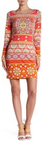 Hale Bob Long Sleeve Embellished Trim Print Dress