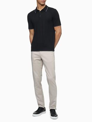 Calvin Klein Merino Wool Blend Striped Polo Shirt