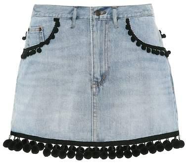 Marc Jacobs Pompom-trimmed denim miniskirt