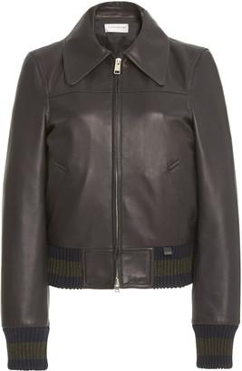 Victoria Beckham Women's Knit-Trimmed Leather Bomber Jacket - Navy - Moda Operandi