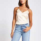 River Island Womens Cream embellished cami strap top