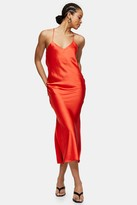 Topshop Womens Red Cowl Back Satin Slip Dress - Red