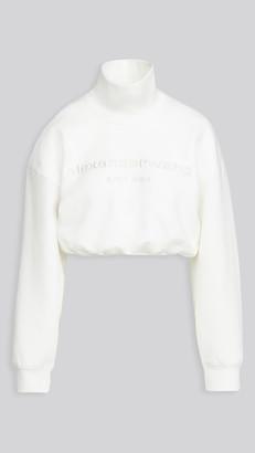 Alexander Wang Cropped Mock Neck Sweatshirt with Embroidery
