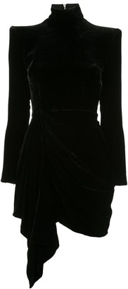 Alex Perry Parker Draped Velvet Mini dress
