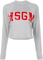 MSGM logo print cropped sweatshirt