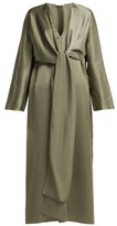 The Row Clementine Oversized V-neck Gown - Womens - Dark Green