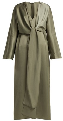 The Row Clementine Oversized V Neck Gown - Womens - Dark Green
