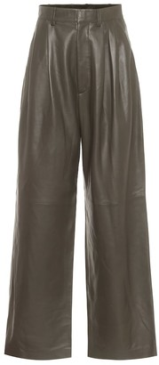 Dodo Bar Or High-rise leather wide-leg pants