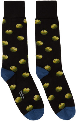 Paul Smith 50th Anniversary Black and Blue Apple Socks