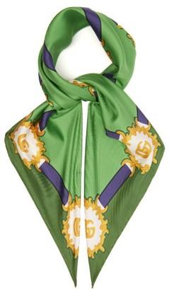 Gucci Harness-print Silk-twill Scarf - Womens - Green
