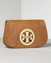 Women's Glazed Leather Logo Clutch