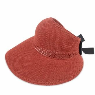 DORRISO Straw Hat Ladies Floppy Summer Sun Beach Straw Hat UPF 50 Foldable Wide Brim Adjustable Sunscreen Sun Hat Brown