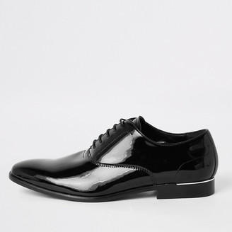 River Island Black patent lace-up derby shoes