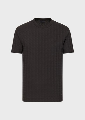 Emporio Armani Jersey T-Shirt With Checked Jacquard Motif