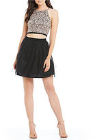 I.N. San Francisco Sequin Lace Top with Mesh Skirt Two-Piece Dress