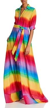 All Things Mochi Iska Silk Rainbow Striped Dress