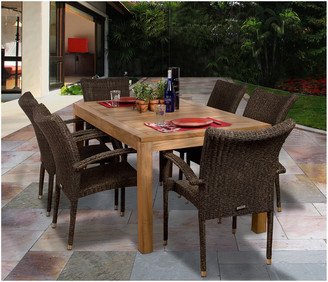 International Home Miami Amazonia Teak & Wicker 7Pc Patio Dining Set