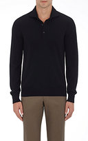 Cifonelli Men's Cashmere Long-Sleeve Polo Shirt-BLACK