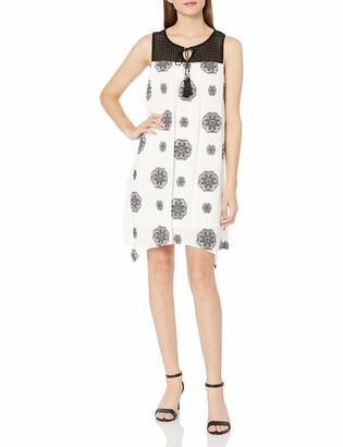 Sandra Darren Women's Sleeveless Printed Gauze Trapeze Dress