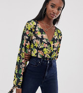 Asos Tall DESIGN Tall wrap body with blouson tie sleeve in dark floral print